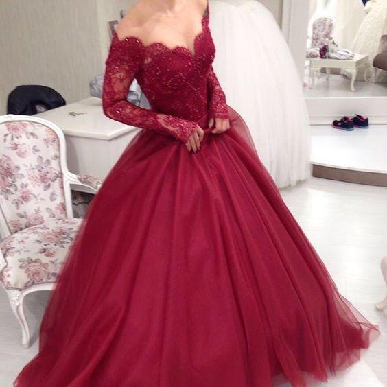 Sheer Scoop Neckline Long Sleeves Burgundy Ball Gowns