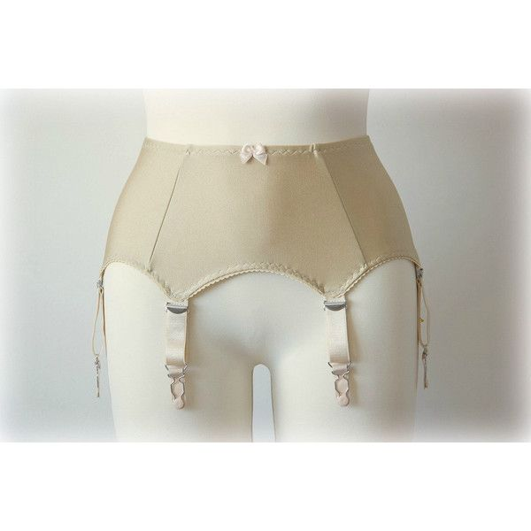 Plus Size Beige Skin Nude Retro Style Garter Belt 6 Strap Suspender... ($46) ❤ liked on Polyvore featuring intimates, garter belts, hosiery, silver, women's clothing, plus size garter belt, plus size lingerie, garter belt lingerie, suspender belt and womens plus size lingerie