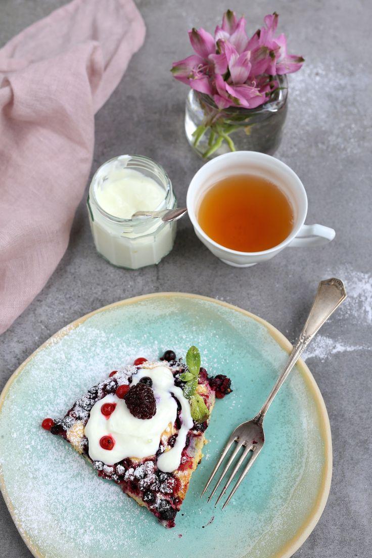 Skład: 5 jajek 8 łyżek cukru 5 łyżek mąki pszennej (wersja bezglutenowa: mąkąryżowa) garść mrożonych owoców (jagody, maliny, borówki lub truskawki) do smażenia: 2 łyżki masła do posypania: cukier puder do podania: jogurt grecki lub lody waniliowe A oto jak to zrobić: Żółtka ubijamy z cukrem na puszysty kogel mogel, a białka na sztywną pianę. …