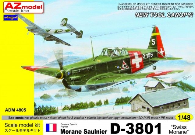 Morane Saulnier D-3801, Swiss Air Force. Admiral, 1/48, rebox 2013 (ex AZ Model 2008 No.4821, updated / new parts), No.4805. Price: Not Sold.