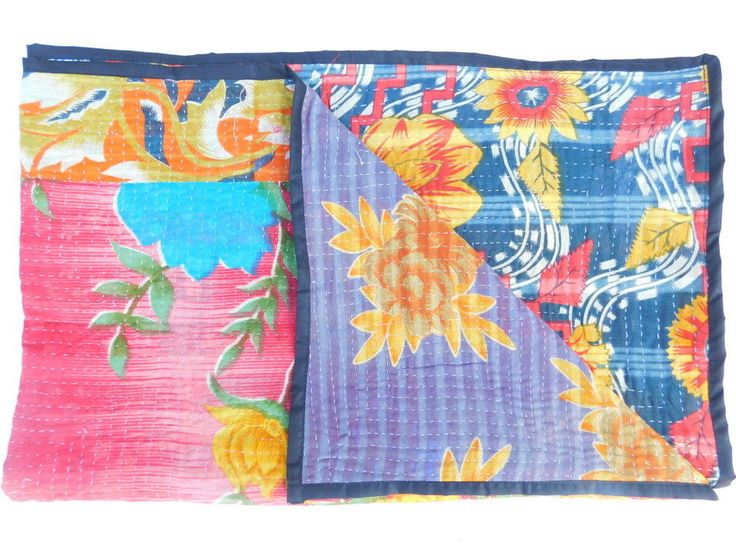 Kantha Bedspread Quilt Blanket Twin Bed Cover India Handmade Patchwork XZ86 #Handmade #AsianOriental