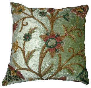 Crewel Pillow Tree of Life Pistachio Rayon Velvet (16x16) - craftsman - bed pillows and pillowcases - by Crewel Fabric World