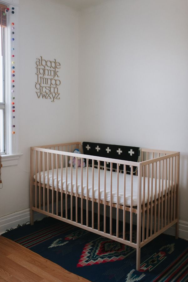 similar to the crib we have (Ikea Gulliver); love that rug and ABCs too!