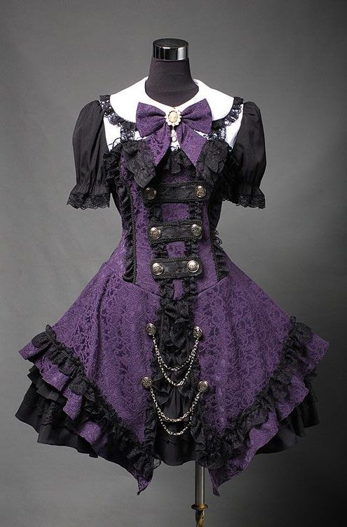 neat purple gothic lolita-ish dress. absolutely wonderful. def could wear it sometime in new orleans