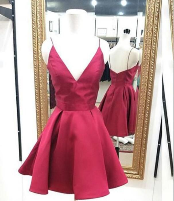 V neck Spaghetti strap homecoming dress,short party dress,a line party dress,homecoming dresses,charming homecoming dress