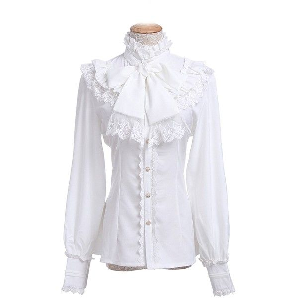 Nuoqi Women Lolita Lace Stand-Up Collar Lotus Ruffle Shirt Retro... ($36) ❤ liked on Polyvore featuring tops, blouses, victorian lace blouse, ruffle top, lace top, stand up collar shirt and lace blouse