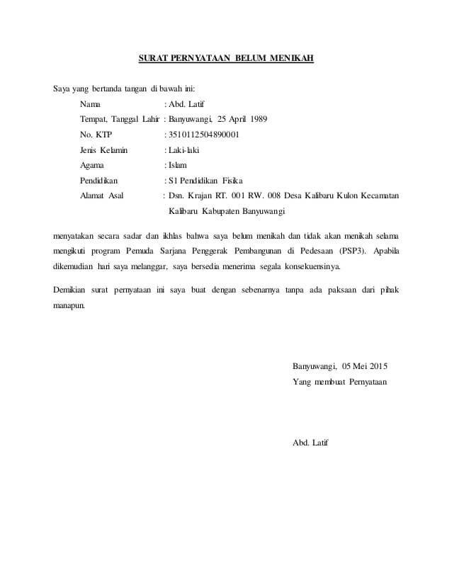 15 Contoh Surat Pernyataan Belum Menikah Surat Fisika Tanggal
