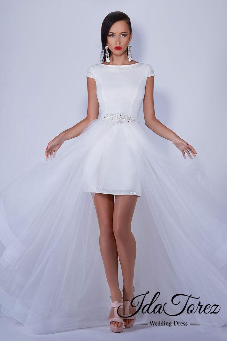 New Design Sheath-Column Bateau Natural Short-Mini Tulle Ivory Cap Sleeve Open Back Wedding Dress Sequins Removable Train 01051