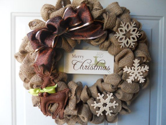 Country Christmas Burlap Door Wreath with by ChloesCraftCloset, $45.00