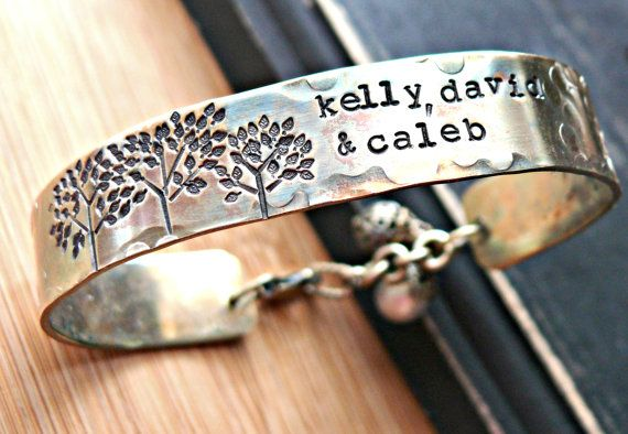 Hand stamped mother's bracelet.  http://www.etsy.com/shop/yourcharmedlife