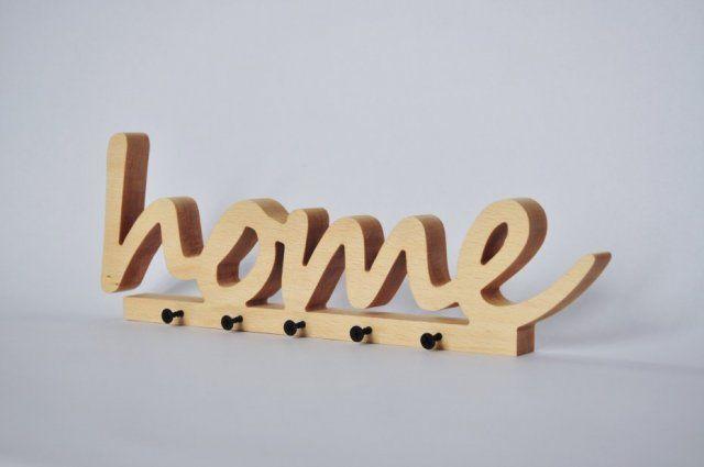 Wieszak na klucze - drewniany napis home