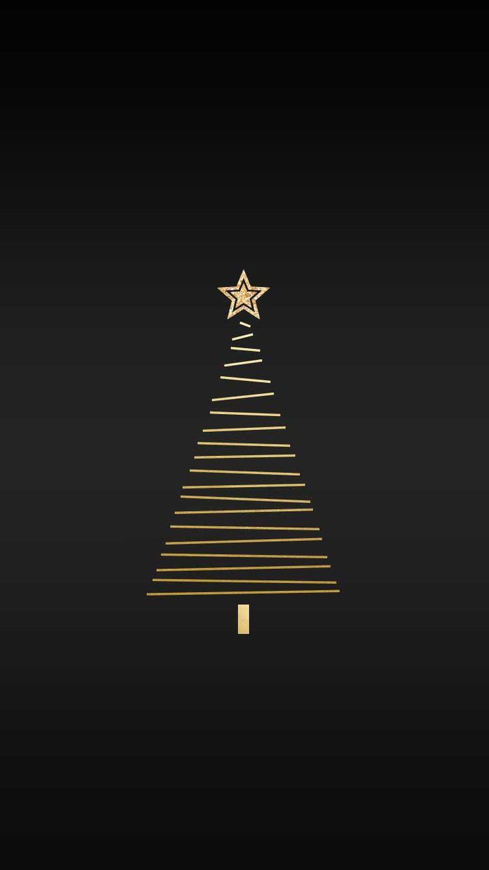 Gold Xmas tree | free holiday phone wallpaper