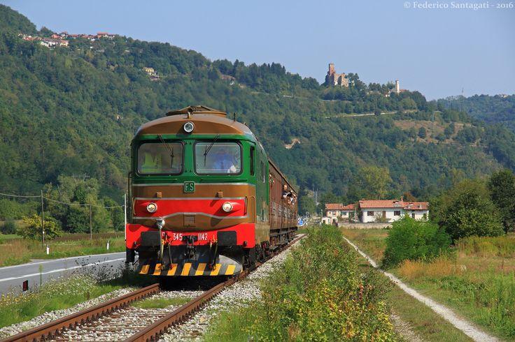 Historic Train Torino-Ceva-Ormea with the Castle of Nucetto