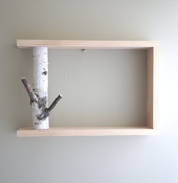 White birch forest wall art shelf 12x12 birch shelf wooden shelf framed - Etagere invisible ikea ...