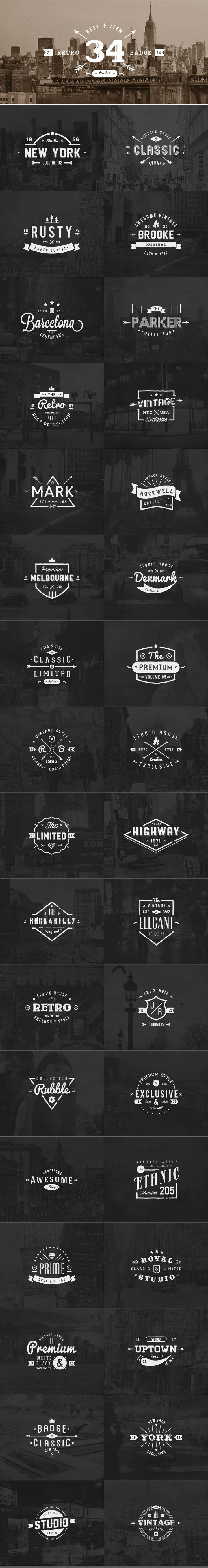 34 Retro Labels Badges