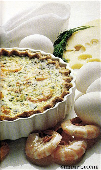 Shrimp QuicheShrimp Quiche  (4 servings)    Printable Version 1 9-inch deep pie shell 4 eggs 1 and 1/2 cups light cream or evaporated milk 3/4 teaspoon salt 1/2 teaspoon pepper 1 teaspoon tarragon 1 cup cooked shrimp or crab meat 1/2 cup cheese - shredded 1/4 cup green pepper and onion - chopped Preheat oven to 400 degrees. Partially bake pie shell on lowest rack in oven for 8 minutes. Remove from oven and reduce heat to 350 degrees.  Lightly beat eggs, add cream, salt, pepper and desired…