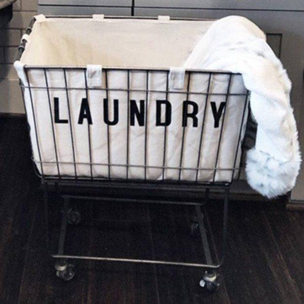 Rolling Cloth Laundry Bin With Images Laundry Cart Metal