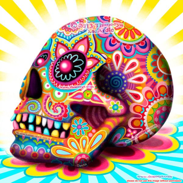 Lemon Sky: Day of the Dead Sugar Skull by Thaneeya McArdle, via Behance  #sugarskull #dayofthedead
