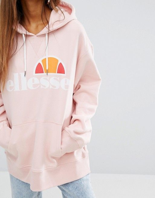 Light pink Ellesse oversized hoodie 90's style