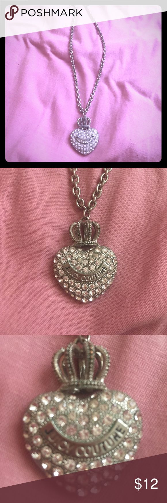 Juicy couture crystal heart chain necklace Juicy couture chain necklace crystals and crown piece. The black ink inside of the juicy couture wording is faded. Beautiful necklace however. Juicy Couture Jewelry Necklaces