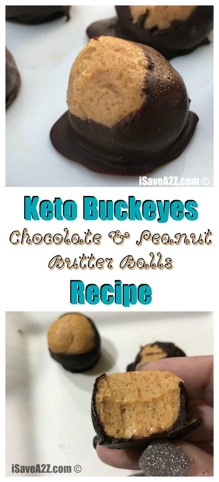 Keto Buckeyes Chocolate and Peanut Butter Balls Recipe - delish!! via @isavea2z