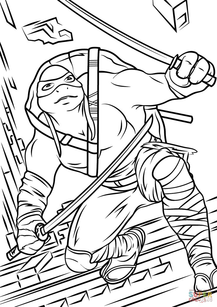 Ninja Turtles Eating Pizza Coloring Pages