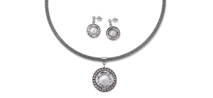 Swarovski hand worked glass pendant cool white 4835_1700 – coeur de lion jewellery