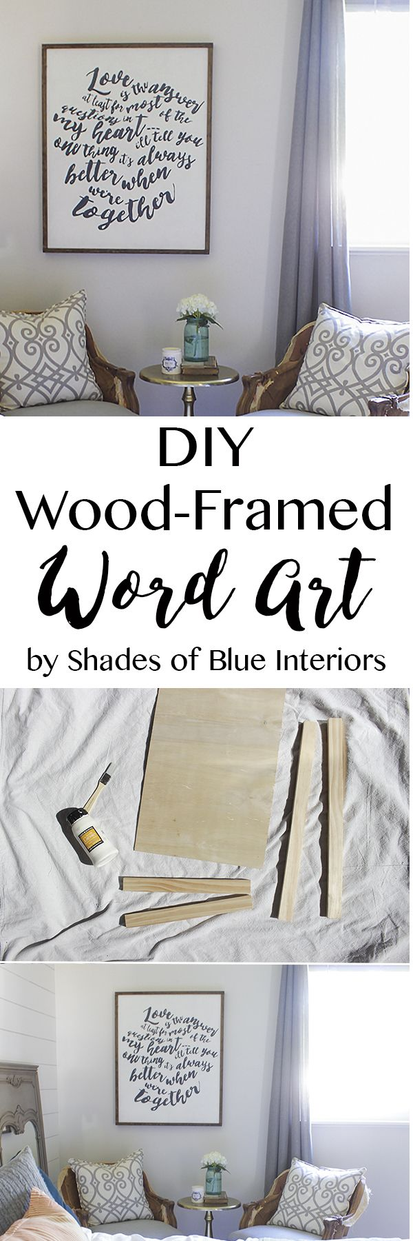"How to make wood-framed word art out of 1x2s and 1/4"" plywood. Can be customized to any size and free printable of Jack Johnson lyric word art included."