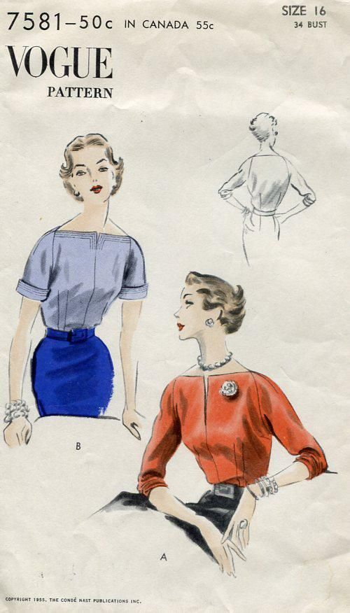 Sewing Patterns,Vintage,Out of Print,Retro,Vogue Simplicity McCall's,Over 7000 - Vogue 7581 Retro 1950's 1955 Blouse 34 Unused
