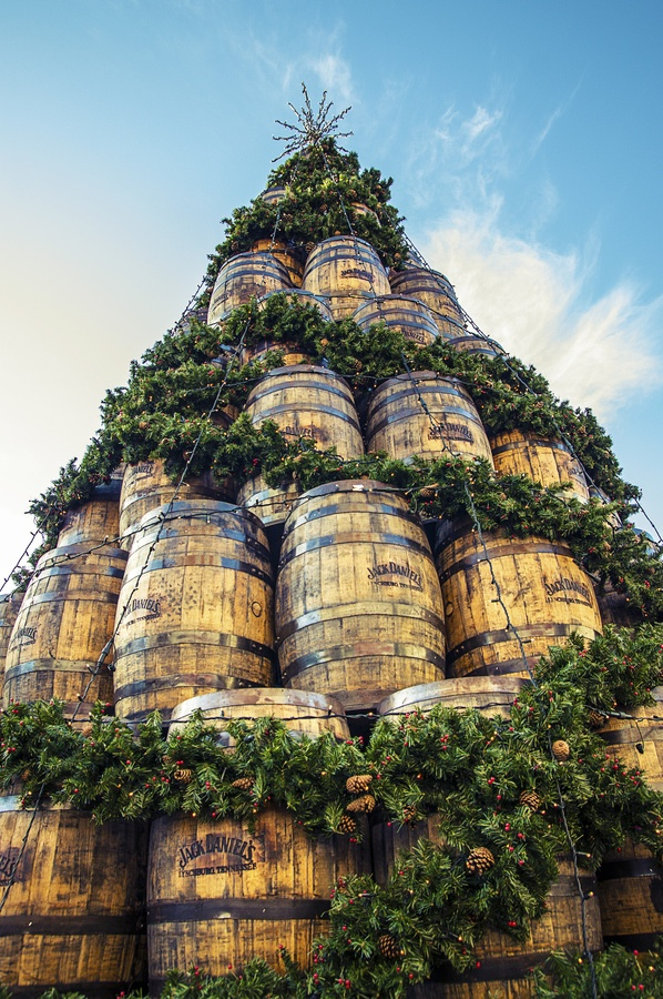 Merry Christmas!! The Jack Daniels barrel Christmas tree in Covent Garden, London, consisting of 140 white oak barrels from the distillery in Lynchburg, Tennessee.