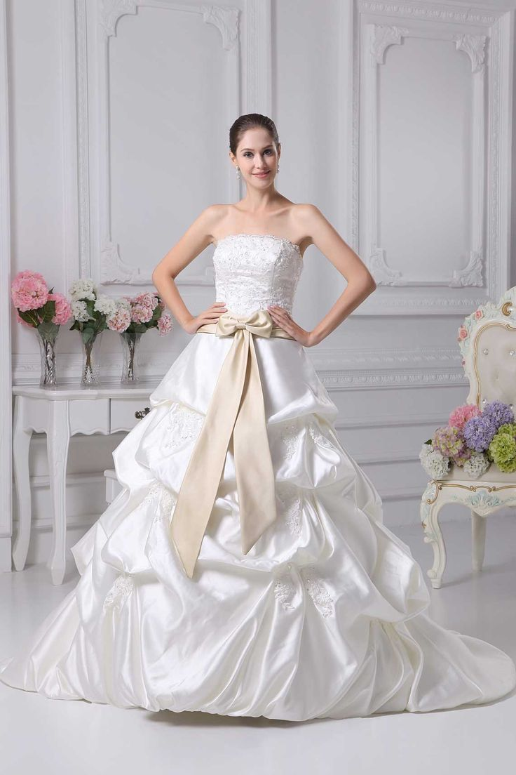 Ivory Satin Lace Natural Waist Beading Ball Gown Wedding Dress