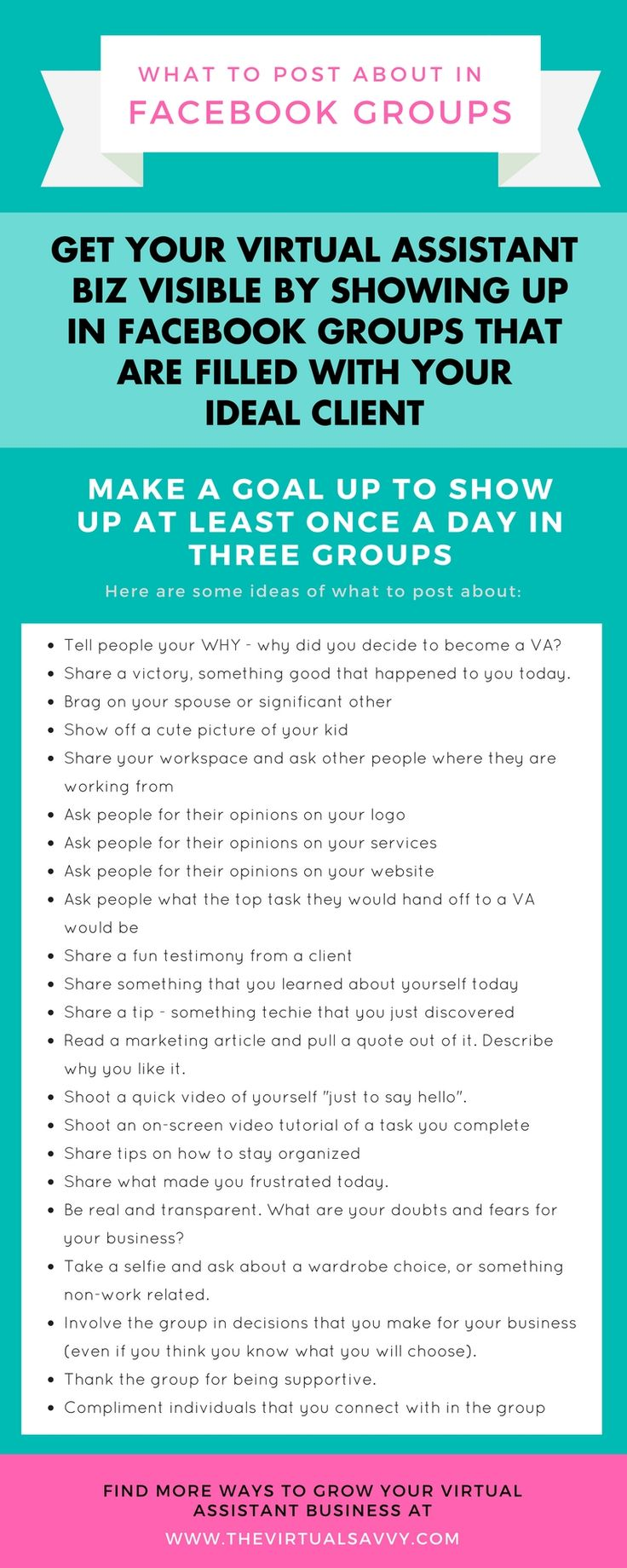 Get eyes on your VA biz by hustling in Facebook groups filled with your ideal clients! Here are tons of ideas to get you started... via The Virtual Savvy
