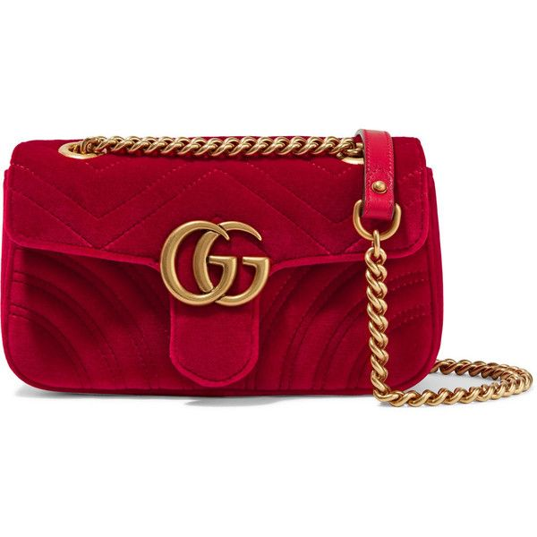 Gucci GG Marmont mini quilted velvet shoulder bag (€1.180) ❤ liked on Polyvore featuring bags, handbags, shoulder bags, red, heart purse, red purse, quilted shoulder bag, mini purse and quilted purses