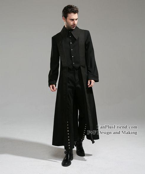 Whale Bones Bay, Pirate Gothic False 2pcs Trench Coat/Long Jacket for Man