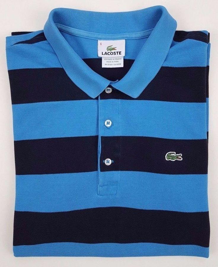 LACOSTE Polo SHIRT 6 Striped BLUE Mens COTTON Logo SIZE Sz XL Man GATOR Stripe** #Lacoste #PoloRugby