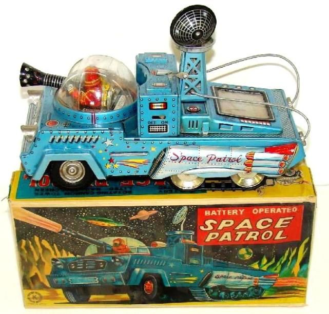 vintage space cars, vintage tin toy robots, rare ebay space toys, antique tin space toys, alps tin cars, japan, yonezawa space toys, vintage japanese tin space ships, haji japan vintage space toys for sale,  cragstan tin toy robots price guide, japan alps furtura space car,  buying vintage japan tin flying saucers, lost buddy l trucks, rare robots,decades old vintage space toys, original japan tin space toy box, red space ship, vintage tin drummer robots, space japan tin robot toys,  early…