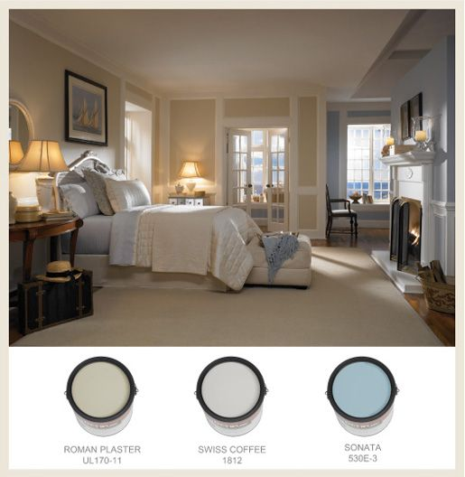 Bedroom Paint Color Schemes: This Serene Bedroom Features Behr's Swiss Coffee, A