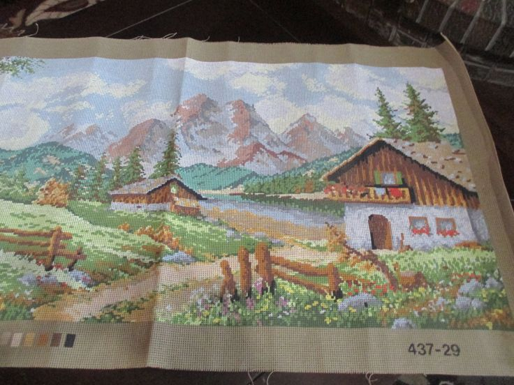 Italian  Painted Needlepoint Canvas Design # 437/29  Countryside Scene Homes by GwensHaberdashery on Etsy