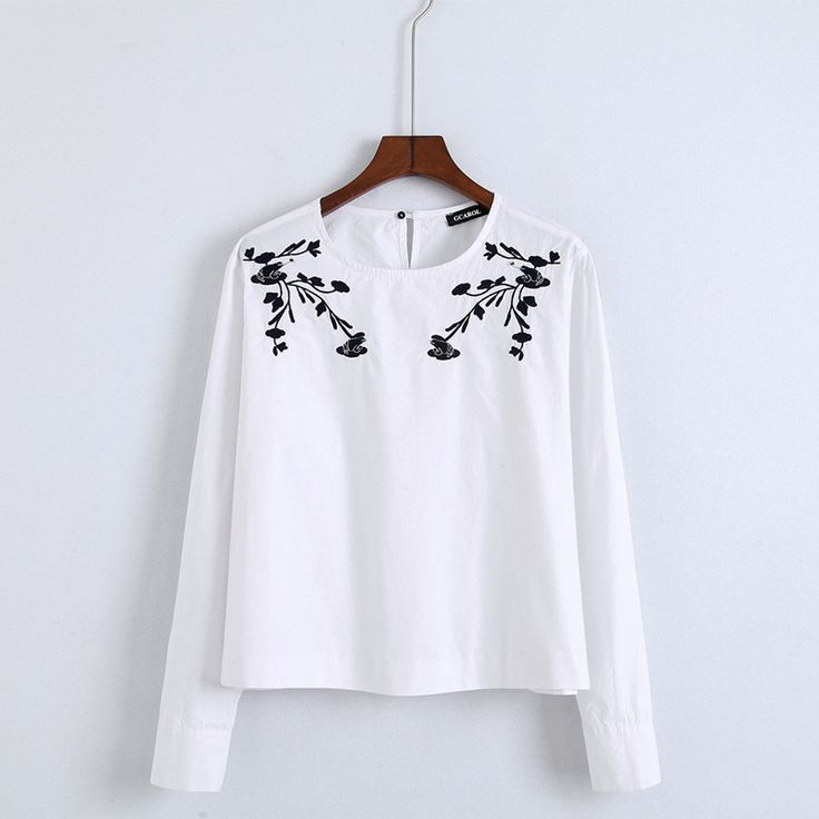 New Women Floral Embroidery Blouse Neat OL Fashion Cropped Shirt High Quality White Floral Short Tops For 4 Season