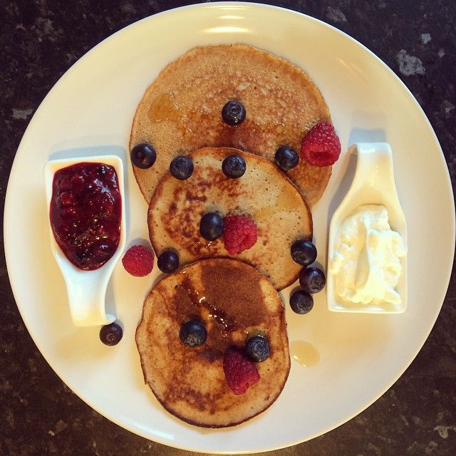 It's a bank holiday Monday here in the UK, so I had to have pancakes.  ⭐️ I used my regular mixture for my pancake batter. 1 small banana, 1 free range egg & 1 heaped spoonful of @bikiniblend vanilla protein. I whizzed up all the ingredients in the @thenutribullet ⭐️ I cooked the pancakes in some @lucybeecoconut coconut oil. ⭐️ I made a chia berry jam compote which consisted of some frozen and fresh summer berries, 1/2 tsp @lucybeecoconut oil and a splash of pure maple syrup heated in the…