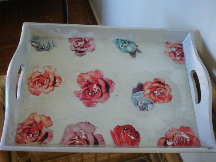 Wood decoupaged tray.