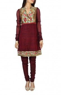 Maroon Embroidered Yoke Salwar By Pankaj And Nidhi Rs.18901