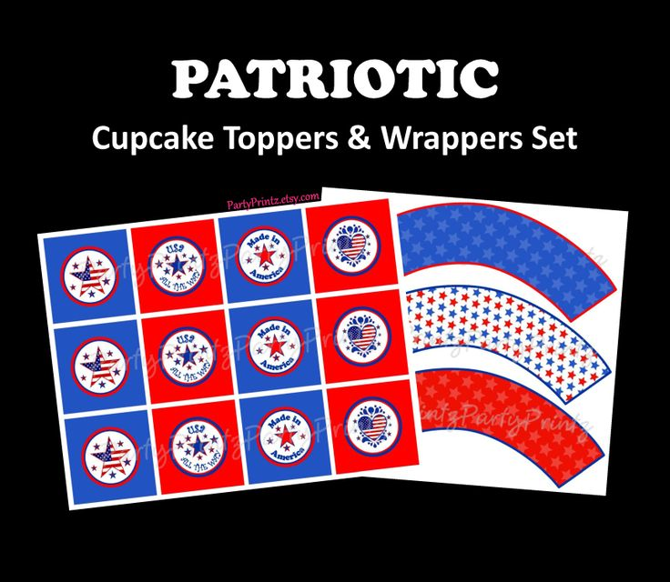INSTANT DOWNLOAD - Printable - 4th of July / Patriotic / Team USA / Olympic Support  / Cupcake Toppers  Wrappers Set