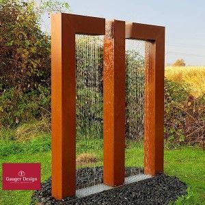 Cortenstahl Gartenbrunnen Wassertor Jolina Mit Led Beleuchtung