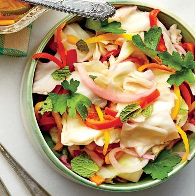 Napa Cabbage-and-Sweet Pepper Slaw: Put this on your pulled pork sandwich and you'll never go back to regular coleslaw again.