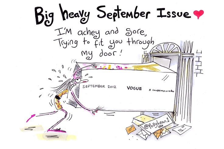 Supermodel Polly Bean can't get the September Issue through her front door (Vogue.com UK): Bean Can T, Fashion Sketches, Beans, Giant September, Front Doors, Door Vogue Com, Fashion Files, Bean Struggles, September Issue