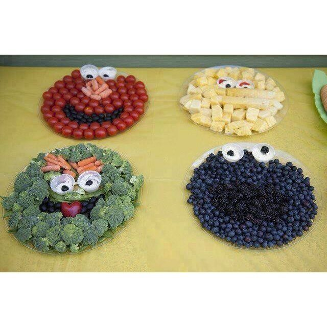 Healthy foods for kids as Sesame Street characters. Children's Dentistry of Trappe, pediatric dentist in Trappe/Collegeville, PA @ www.childrendentistryoftrappe.com