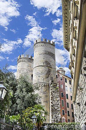 The two towers of  Porta Soprana  in Genoa Il mio nuovo lavoro su dreamstime