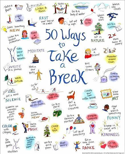 50 Ways to Take a Break by Karen Horneffer-Ginter, huffingtonpost #Infographic #Take_A_Break