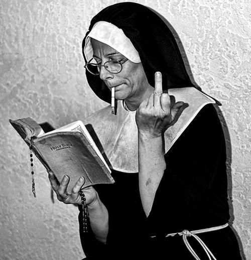 Saints and Sinners...Sinners and Saints...At least she still believes in reading the good book.lol Give a little credit. Some just take a little longer to completely convert. lmao